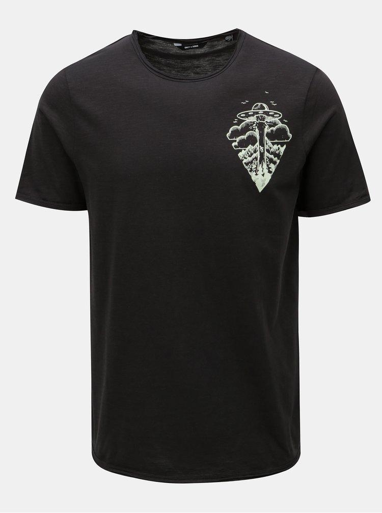 Tmavě šedé tričko s potiskem ONLY & SONS Gerreth