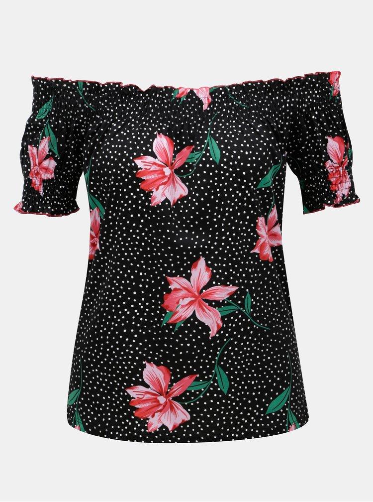 Černé květovaný top s odhalenými rameny Dorothy Perkins