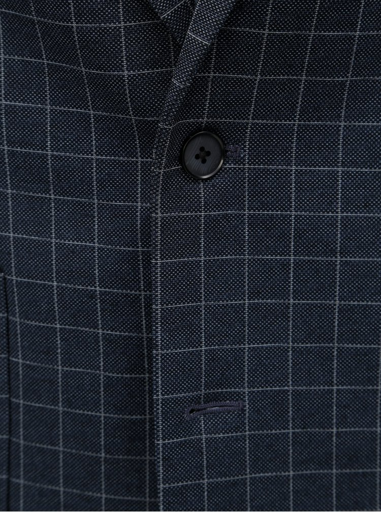 Tmavomodré kockované sako Burton Menswear London