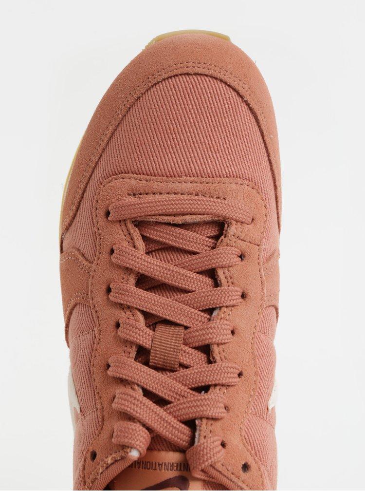 Starorůžové dámské semišové tenisky Nike Internationalist