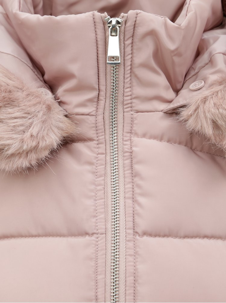 Starorůžový prošívaný kabát s páskem Dorothy Perkins