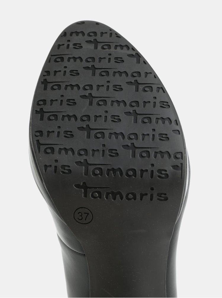 Čierne lesklé lodičky na vysokom podpätku Tamaris