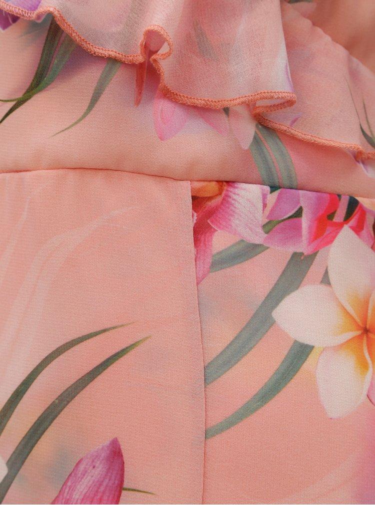 Světle růžové  maxišaty s volány Scarlett B