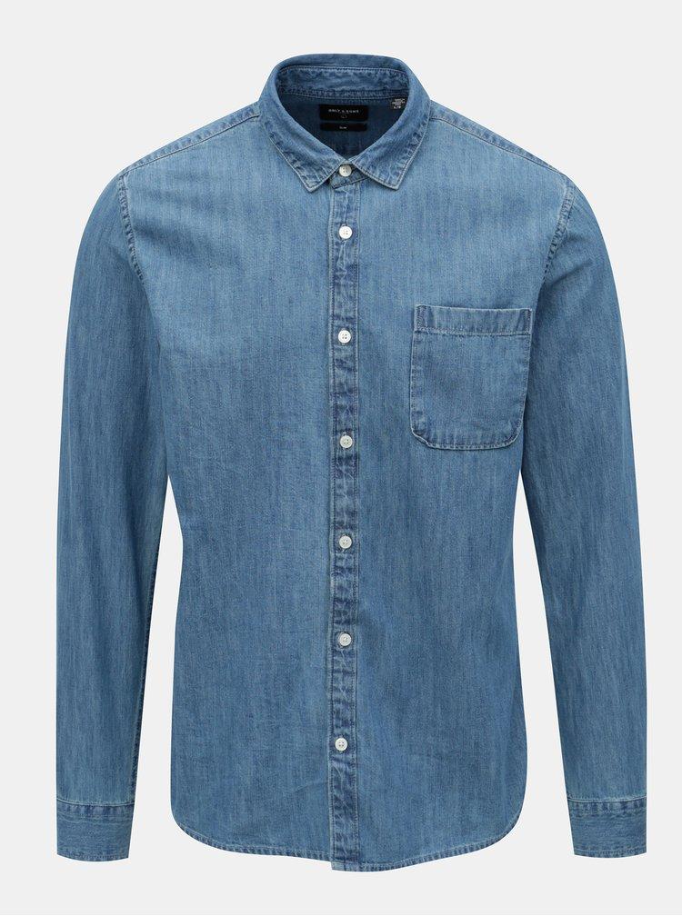 Modrá džínová slim košile ONLY & SONS Kade