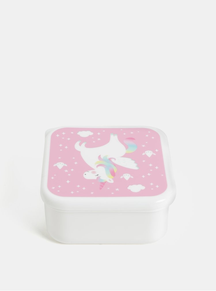 Ružovo-biely desiatový box s jednorožcom Sass & Belle Rainbow Unicorn