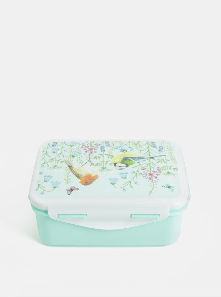 Svetlozelený desiatový box s motívom kvetov Sass & Belle Garden Birds