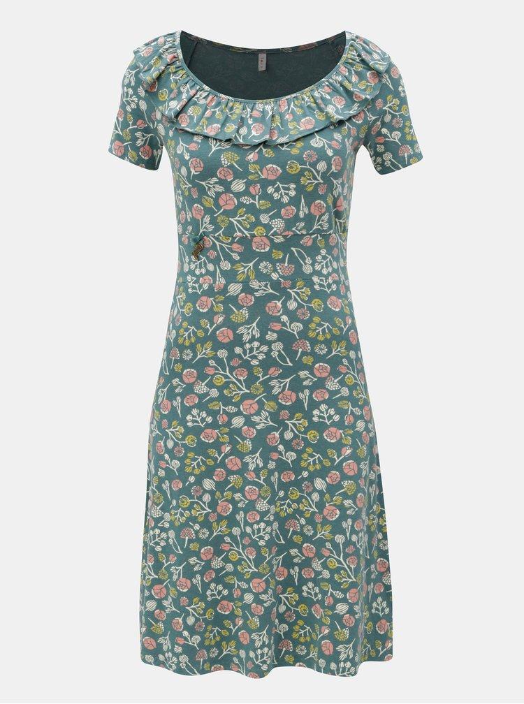 Zelené vzorované šaty s volánem Blutsgeschwister