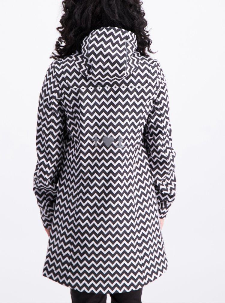 Bílo-černá dlouhá vzorovaná voděodolná bunda Blutsgeschwister