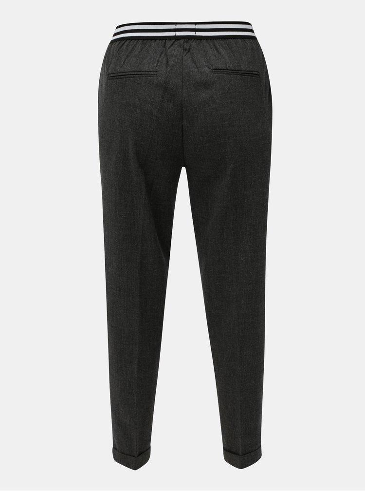 Pantaloni de dama crop gri cu talie elastica Broadway Gabby