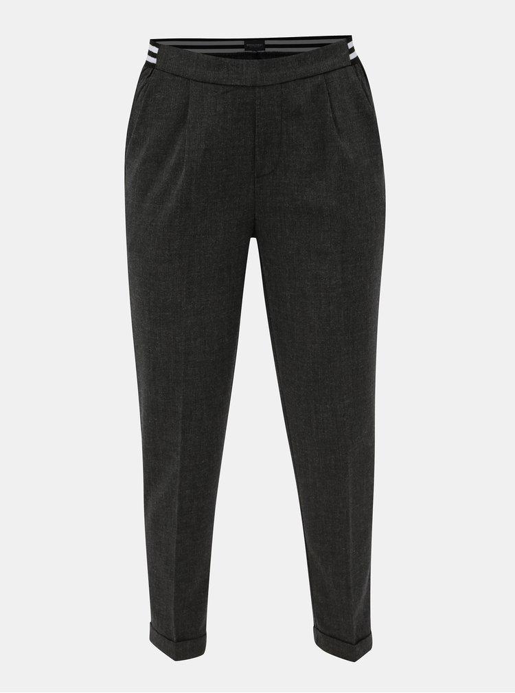Šedé dámské zkrácené kalhoty s elastickým pasem Broadway Gabby