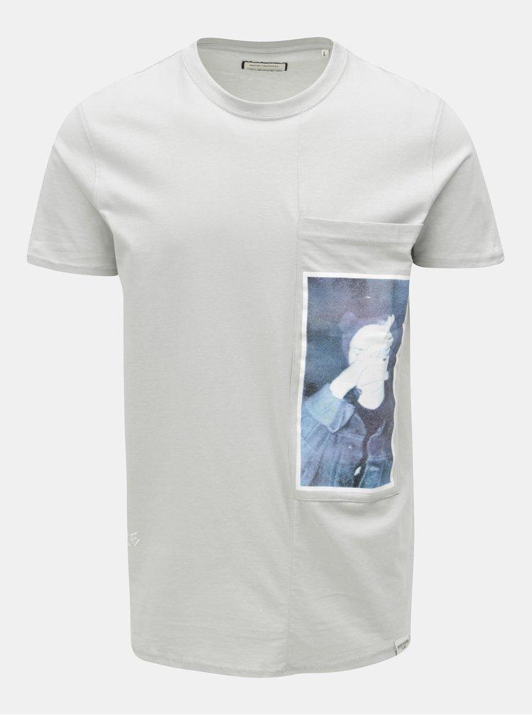 Sivé tričko s potlačou a náprsným vreckom Shine Original
