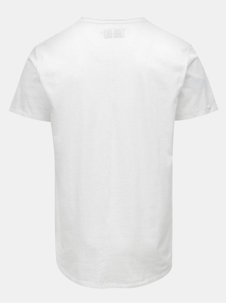 Biele prešívané basic tričko s náprsným vreckom Shine Original