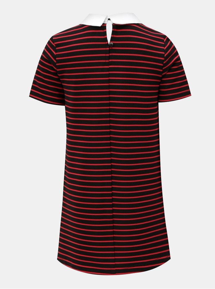 Červeno-černé holčičí šaty s límečkem Name it Nalia