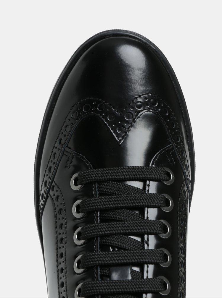 Čierne lesklé členkové tenisky s plastickým vzorom Geox Tahina