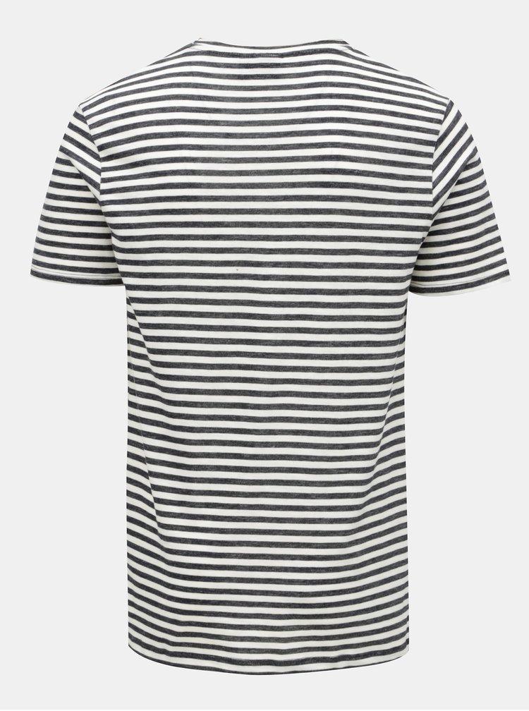 Krémovo-modré pruhované basic tričko JUNK de LUXE