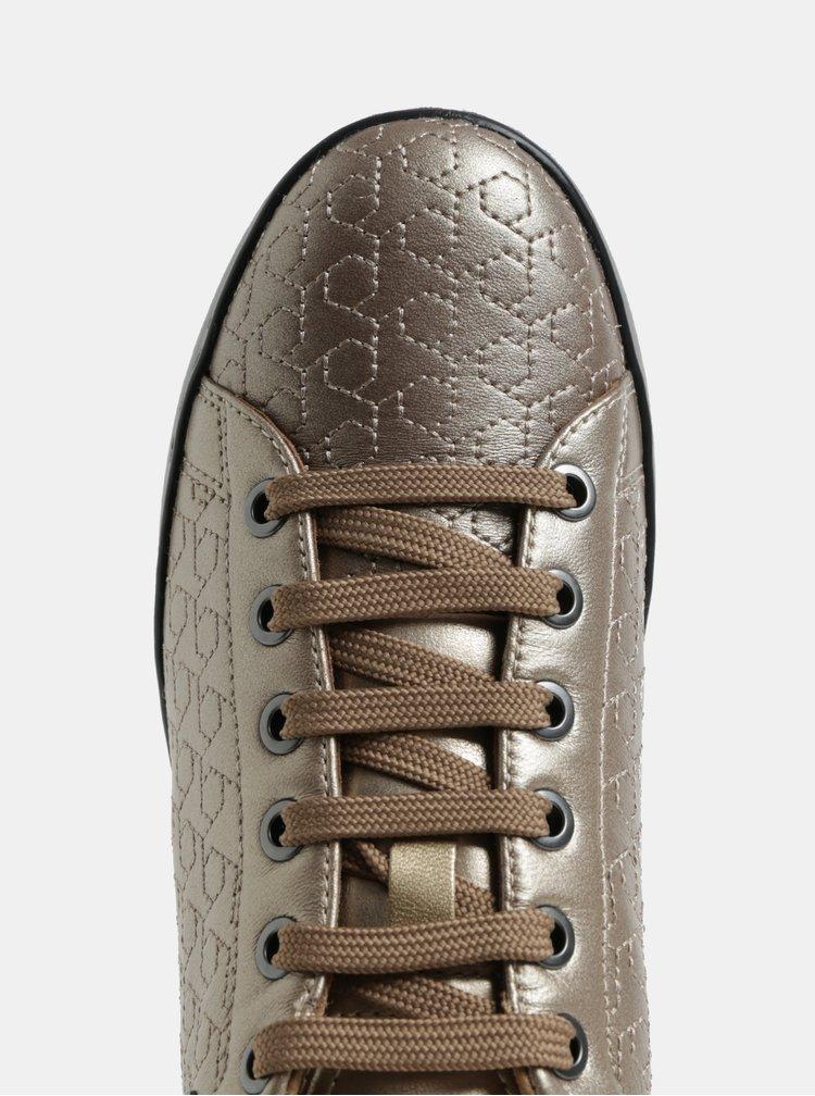 Lesklé strukturované tenisky ve zlaté barvě Geox Jaysen