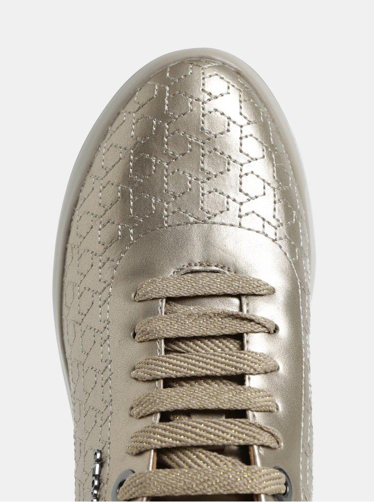 Prošívané vzorované tenisky ve zlaté barvě Geox Theragon