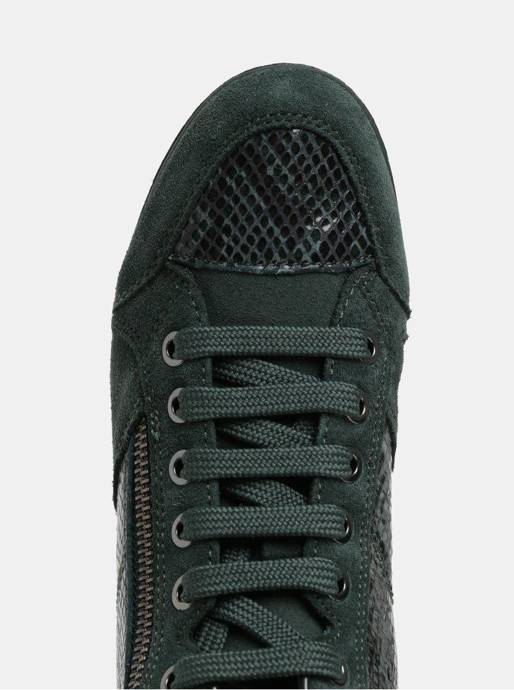 Tmavě zelené kožené kotníkové tenisky s efektem hadí kůže Geox Myria