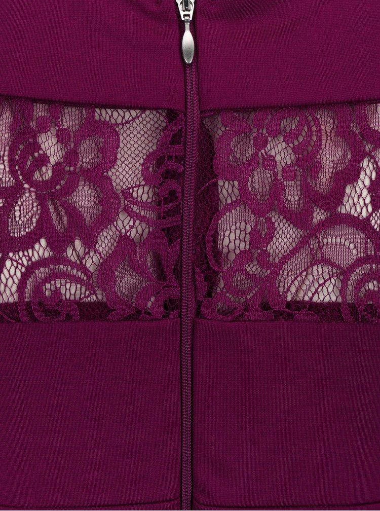 Tmavě fialové pouzdrové šaty s krajkou Paper Dolls