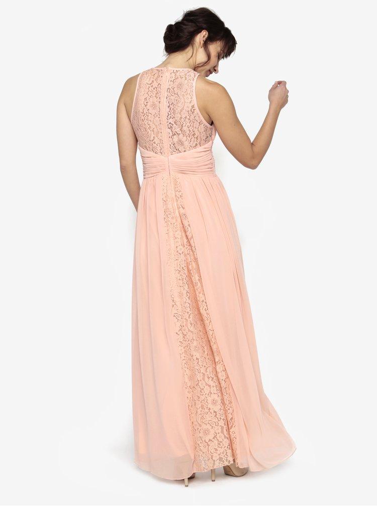 Světle růžové maxišaty s plisovaným topem a korálky Little Mistress