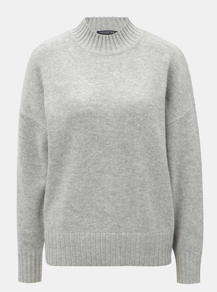 Šedý oversize svetr s příměsí vlny Selected Femme