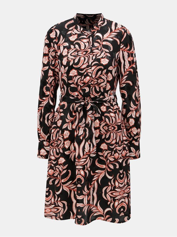 Čierne kvetované šaty s odnímateľným opaskom VERO MODA Gyana
