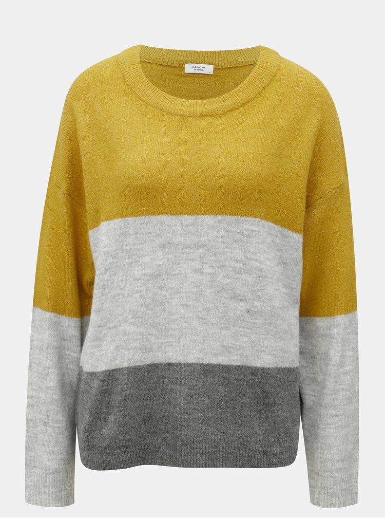 Horčicovo-šedý žíhaný svetr s pruhy Jacqueline de Yong