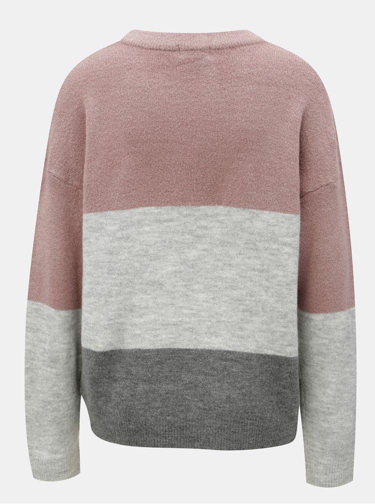 Růžovo-šedý žíhaný svetr s pruhy Jacqueline de Yong