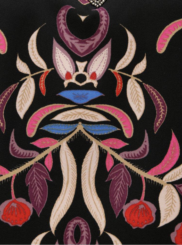 Černý květovaný top s korálkovou aplikací VERO MODA Gyana
