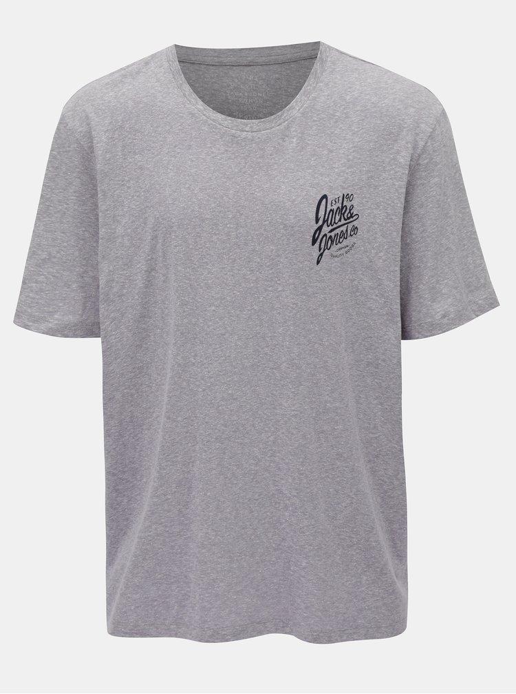 Světle vínové žíhané tričko s potiskem Jack & Jones Breeze Small