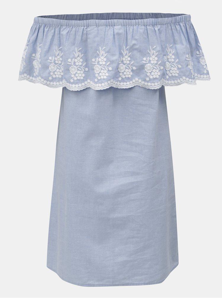 Světle modré šaty s volánem a výšivkou Dorothy Perkins