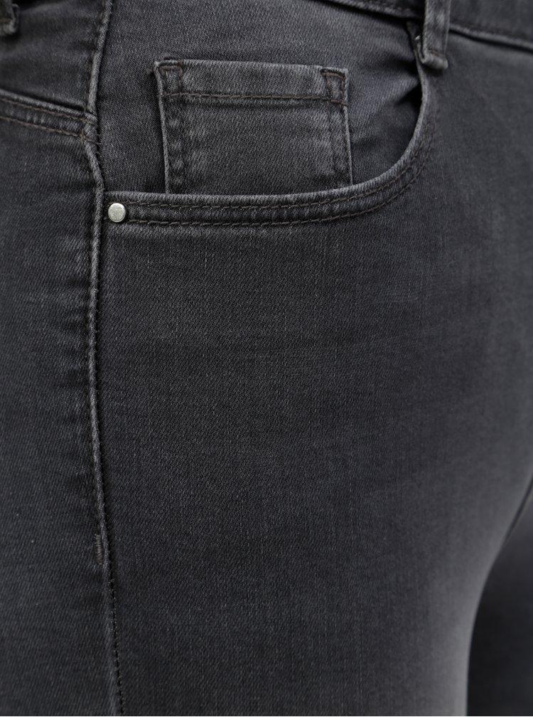 Šedé skinny džíny s vysokým pasem Dorothy Perkins