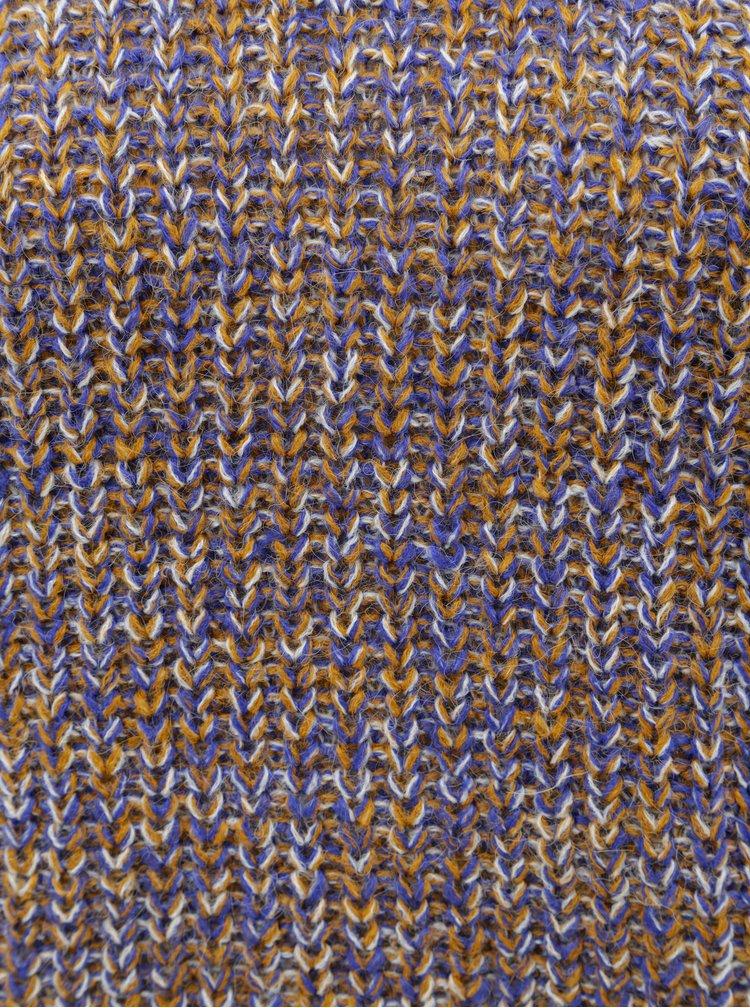 Oranžovo-modrý žíhaný svetr s rolákem VILA View