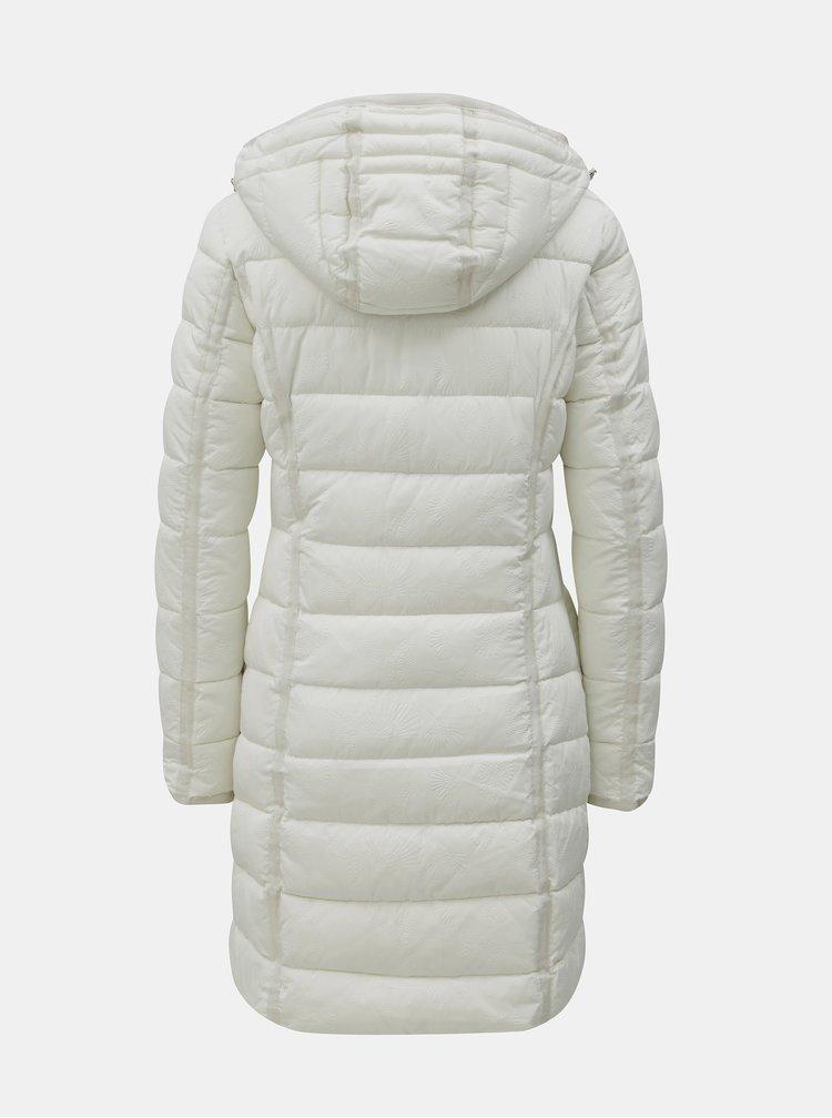 Krémový prošívaný kabát se vzorem Desigual Inga
