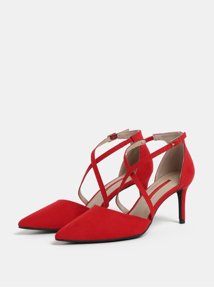 Červené lodičky v semišovej úprave Dorothy Perkins Elsa