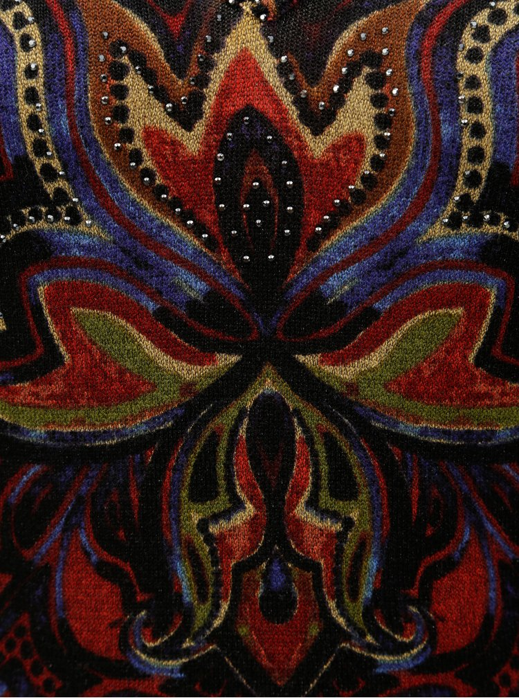 Černý vzorovaný svetr s kamínky Desigual Nevada