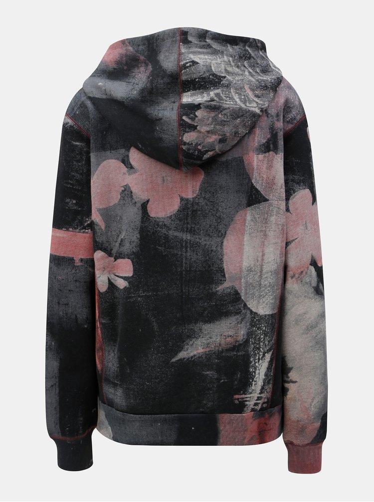 Růžovo-šedá vzorovaná mikina s kapucí Desigual Francis