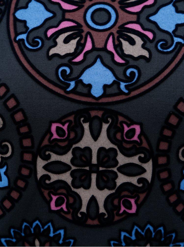 Tmavomodré vzorované šaty s výstrihom na chrbte Desigual
