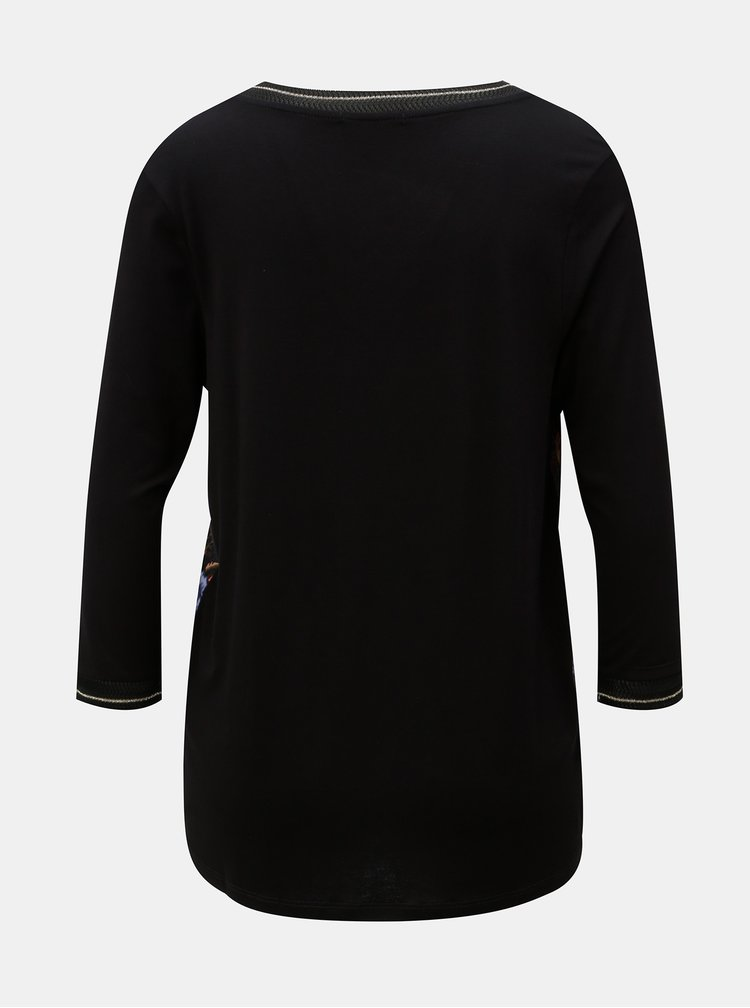 Tricou floral negru cu maneci 3/4 Desigual