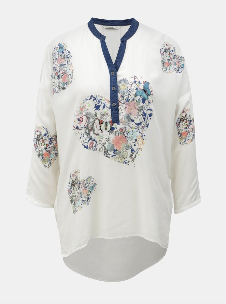 Bluza alba cu print si maneci 3/4 Desigual Temis