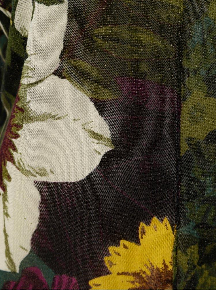 Zelený lehký květovaný svetr Desigual