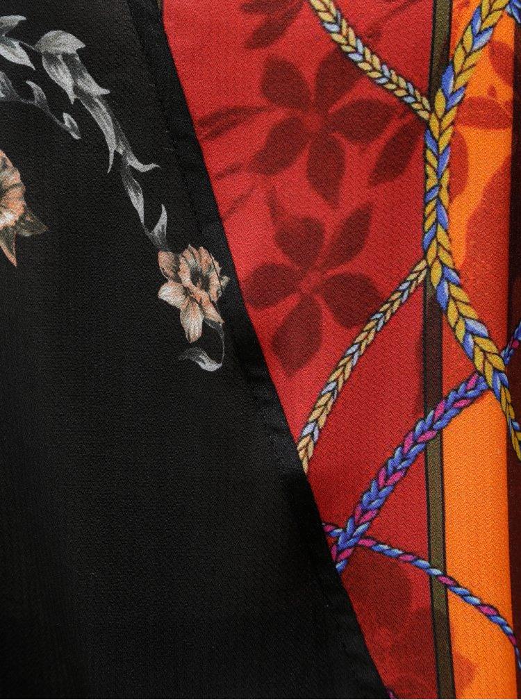 Černá květovaná krátká volná halenka s 3/4 rukávem Desigual