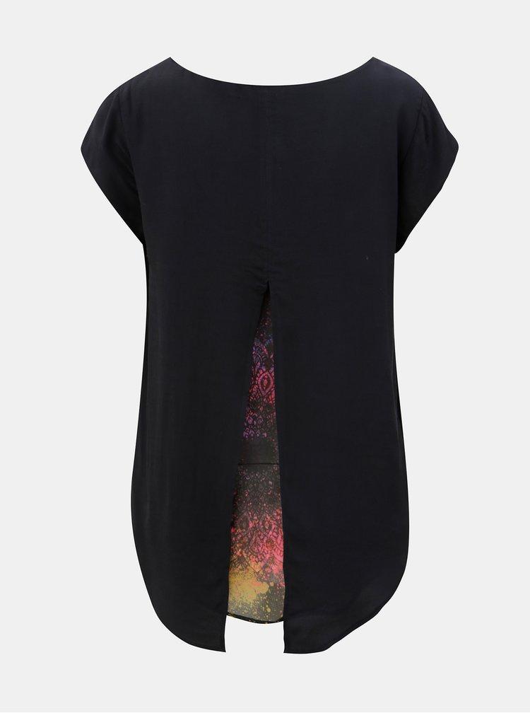 Bluza neagra cu model cu slit la spate Desigual