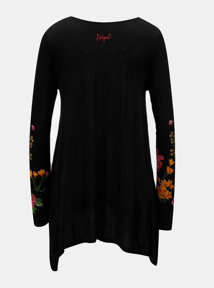 Černé dlouhé tričko s dlouhým rukávem Desigual