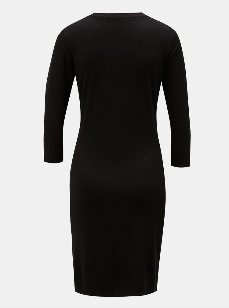 Rochie mulata neagra cu print si maneci 3/4 Desigual Vanity