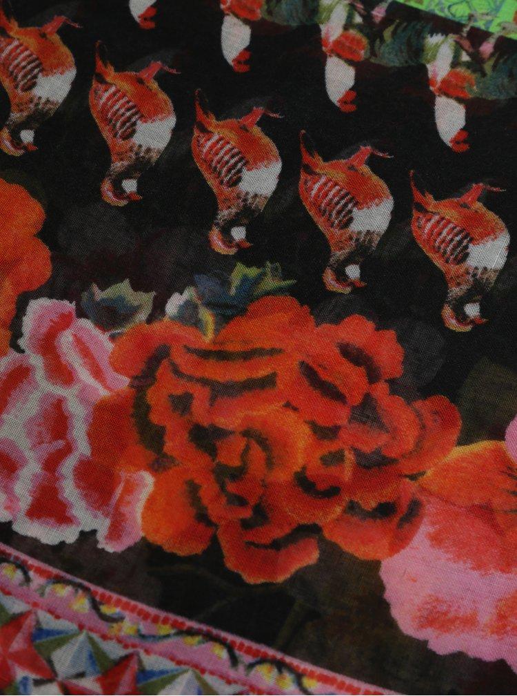 Černo-červený vzorovaný šátek Desigual Rojo