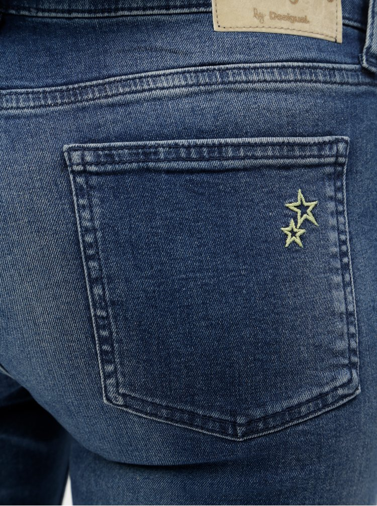 Modré zkrácené skinny džíny s výšivkou Desigual Michelle