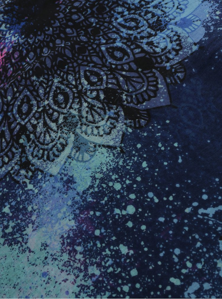 Modrý vzorovaný šátek Desigual Rectangle