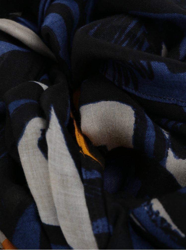 Čierna vzorovaná šatka Desigual Jungle