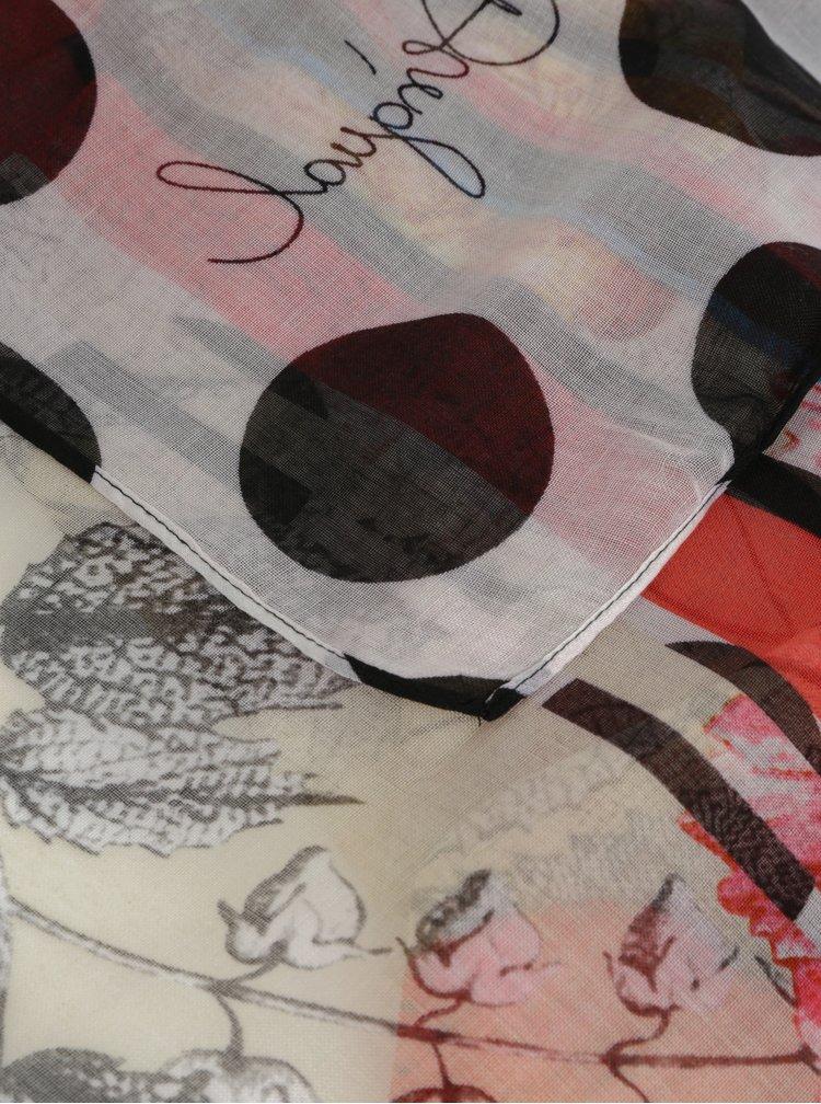 Červeno-bílý vzorovaný šátek Desigual Patch